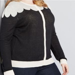 Modcloth Paris Cafe Scalloped Cardigan Sweater